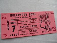 ELTON JOHN Original Unused 1973 CONCERT TICKET - Hollywood Bowl, CA
