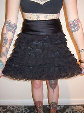 Betsey Johnson Lace Ruffle Mini Skirt A-Line Black Goth PinUp Punk Party sz 2