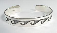 "925 sterling silver cuff bracelet wave design 1/2"" wide"