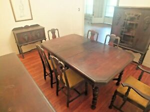 Antique Jacobean 10 pc. Dining Set Mahogany Sideboard Hutch Table Chairs Cabinet