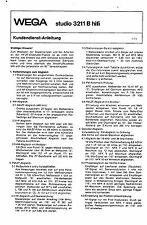 Wega Service Manual für studio 3211 B hifi