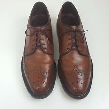 Vintage Hanover Mens Size 9 Brown Leather Wingtip Imperial Dress Shoes
