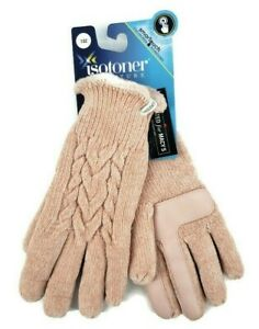 Isotoner Signature Touchscreen Womens Gloves Pink Chenille Cable-Knit Lined New