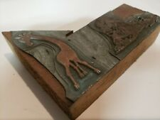 Vintage Letterpress Printing Block Giraffe And Lion Zoo Animals Wood Block