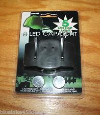 Cap Light  5 LED 100,000+ Burn Time  Attaches to Cap Brim  Headlamp /Hat Light