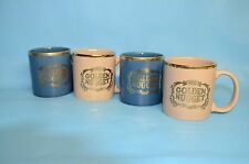 Steve Wynn's Golden Nugget of Atlantic City  Set 4 Coffee Mugs with Gold Trim