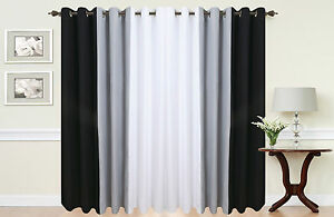 Eyelet curtains Ring Top Fully Lined Pair Ready made 3 Tone Black White Grey