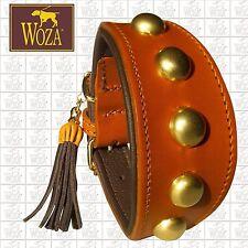 WOZA Premium Greyhound Collar Full Leather Brass Padded Soft Genuine Cow Napa B1