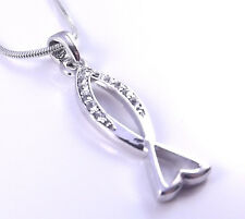 Christian Silver Tone Fish Necklace & Pendant Charm Jesus Religious Bible Church