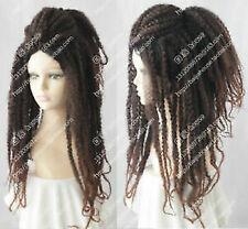 Jamaica Reggae HIPHOP Dreadlocks Long Brown Curly Cosplay Hair Full Wigs