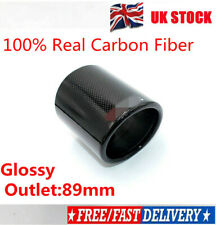 Outlet 89mm Carbon Fiber Exhaust muffler tip Cover 100% Carbon Fiber Glossy UK//