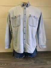 Levis Denim Shirt Button Up Vtg Collar Redtab Cotton Jean Metal Buttons Blue L