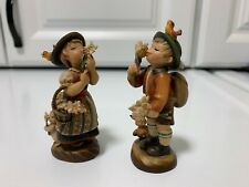 Anri signed Edelweiss boy & girl figurines hand carved-Estate-