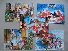NORWAY, 5x  ill. prestamped PC to Germany 2000/01, new year Christmas, cat dog