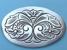 Sterling Silver Floral Oval Concho Style Pin Brooch 925 Signed CT Stamped