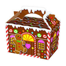 50 X Cajas De Comida Fiesta De Navidad Pan De Jengibre botín de Almuerzo Cartón Regalo Niños de alimentos