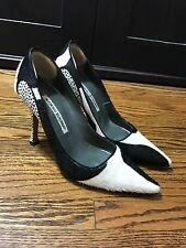 Manolo Blahnik Giraffe Print Pony Hair Pumps in Black and White Size 37