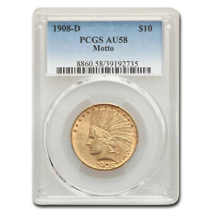 1908-D $10 Indian Gold Eagle AU-58 PCGS (w/Motto) - SKU#161634