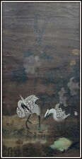 Antiguo chino acuarela Grande/aguada en papel Desplácese pintura Grúas