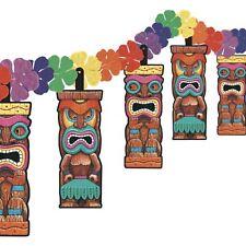 12ft Hawaiian Aztec Tiki Totem Pole Beach Party Floral Garland Banner Decoration
