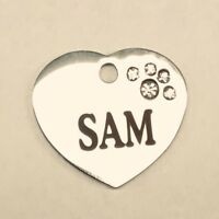 Stainless small Pet ID Tag, Personalized, for cats and small dogs 3/4 inch heart