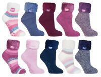 Heat Holders - Ladies Anti Slip Low Cut Thermal Fluffy Lounge Slipper Bed Socks