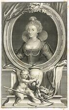 "Portrait of ""ANNE OF DENMARK"" by Jacobus Houbraken - Copper Engraving - 1734"