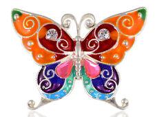 Alloy Crystal Rhinestone Pin Brooch Enamel Handpainted Wing Bold Butterfly