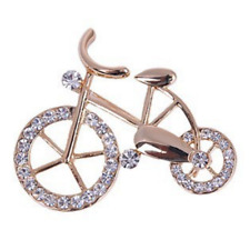 Beautiful Gold Plated Crystal Bicycle Brooch Bike