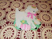 "Vtg Eureka Easter Lamb Pink Ribbon Rare Diecut Cardboard Decoration Large 11"""