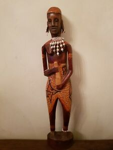 """VINTAGE AFRICAN CARVED STATUE AFRICA TRIBAL ETHNIC LARGE WOODEN FIGURE 25 """""""