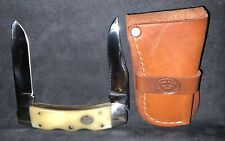 Moore Maker, DOUBLE LOCKBACK, Knife.Leather Sheath,Blades Lock Back, White Bone