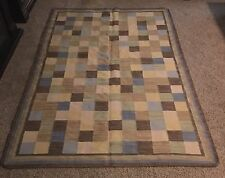 Pottery Barn Checkered Quilt Patch Look WOOL AREA RUG 5x8 5' x 8' Good Used Cond