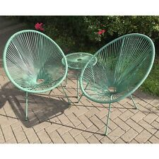 3-Piece Green Patio Furniture Set Hand Woven Garden Table Pool Chairs Bistro UK