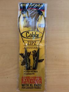 "CABLZ Sunglasses Glasses Holder ZIPZ Eyewear Retainer Black 12"" Adjustable"