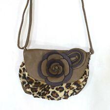 Diophy Los Angeles Crossbody Shoulder Bag Purse Brown Flower Animal Print