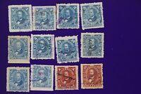 Mexico Revenue Timbre 1892-1893 Documentary 10p peso partial set AG Zamora