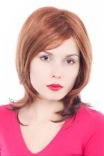 Perruque Femme Rouge Brun avec Mêches Blondes Court Longue Jusqu'aux Épaules