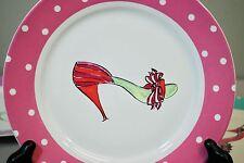 """Rosanna High Heels Stilettos Shoes - 8"""" Dessert Plate - Pink Polka Dot"""