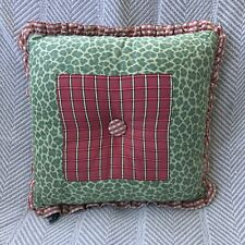 dakotah leopard & plaid pink green white throw pillow square shabby chic ruffle