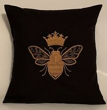 "Queen Bee Embroidered Cushion Cover BLACK 14""x14"" **Last One**"