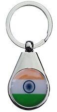 INDIA INADIAN FLAG CHROME POLISHED KEYRING PEAR STYLE SHAPE