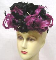 Vintage Womans Tilt Hat 1940s Magenta and Black Feathers ! Gorgeous !