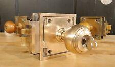 Vintage Corbin Brass Door Knob Lock Set w/ Key INSWING Art Deco Antique Hardware