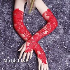 New Arrival Red Flower lace long fingerless bridal wedding Gloves Accessories