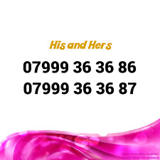 His and Hers x 2 EASY MOBILE NUMBERS GOLD DIAMOND PLATINUM VIP BUSINESS SIM CARD