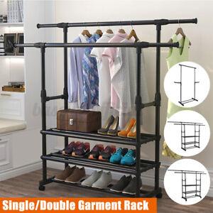 Heavy Duty Garment Clothes Rack Closet Hanger Shoes Organizer Storage + Hooks