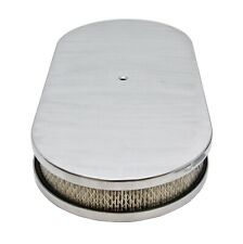 "CHEVY FORD MOPAR 19"" OVAL POLISHED ALUMINUM (DUAL QUAD) AIR CLEANER - SMOOTH - W"