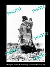 OLD 8x6 HISTORIC PHOTO OF ABORIGINAL MONTHER & CHILD IN SKINS c1880