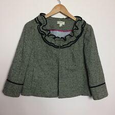 Ann Taylor Loft Women Size 10 Ruffle Salt N Pepper Long Sleeve Wool Blend Blazer